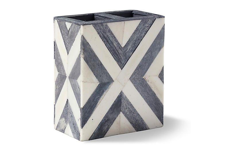 Bristol Toothbrush Holder, Gray/White | Bath accessories ...