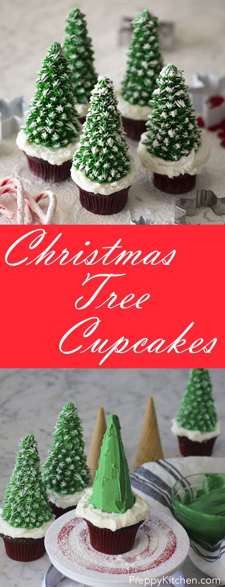 Easy to make holiday cupcakes that look like snow-covered Christmas trees! via /preppykitchen/