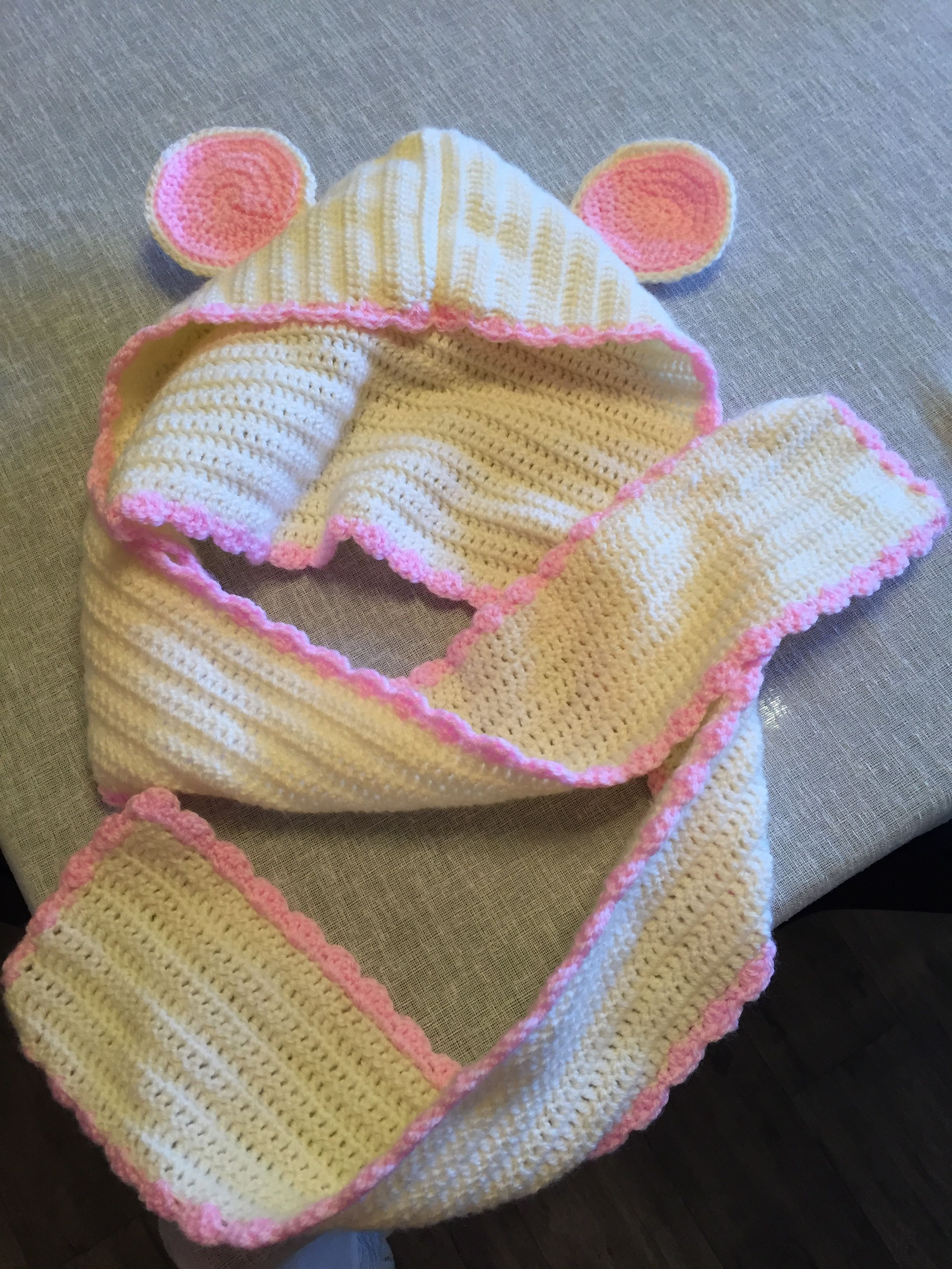 Crochet Mouse Ear Hooded Scard Unicorn Craft Crochet Mouse