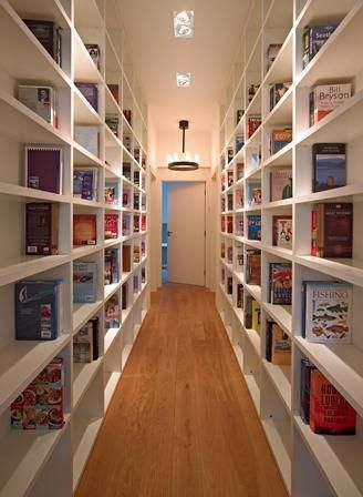 Image result for corridor with a bookshelf