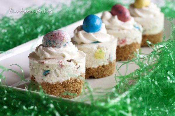 Robin's Egg No-Bake Cheesecakes for Easter via @BarbaraBakes