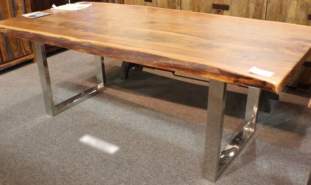 84 L Dining Table Acacia Solid Wood Plank Slab Steel Legs Beautiful Hand Made Worldbazaaroutlet Modern 3200 Slab Dining Tables Table Dining Table
