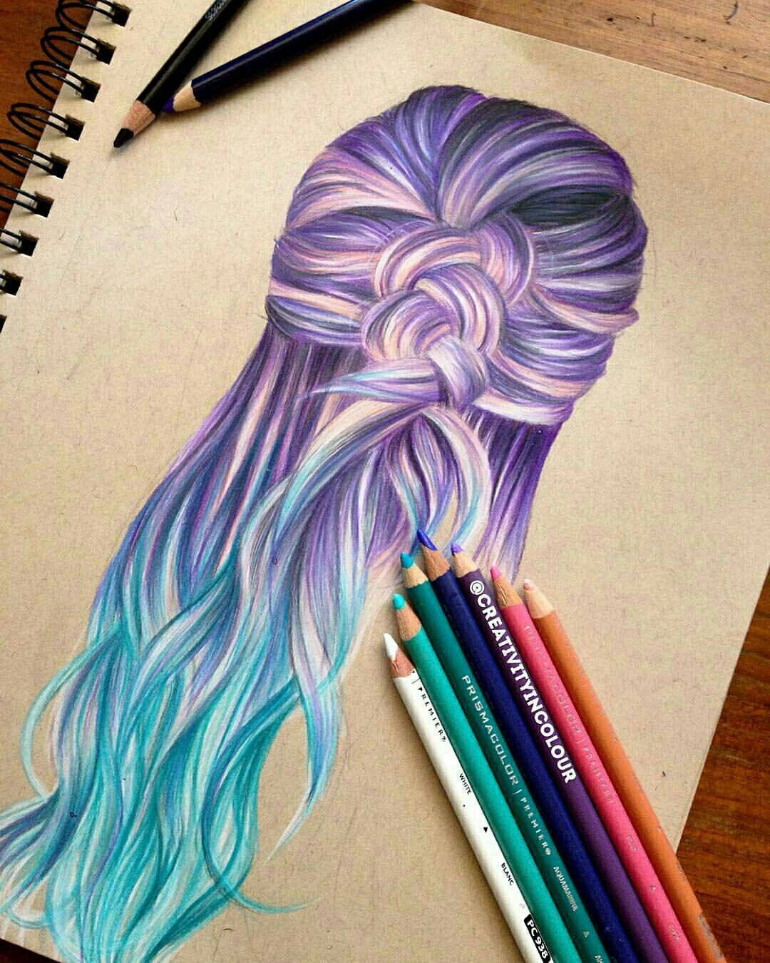 cool drawing purple x blue hair
