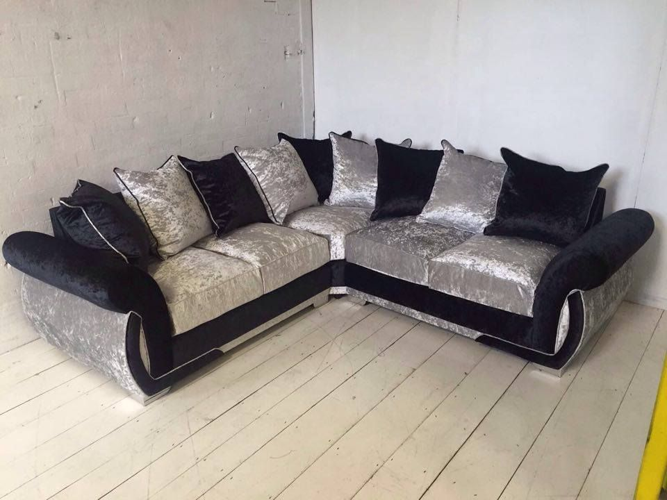 Enjoyable Shannon Corner Sofa Crushed Velvet Fabric Black And Ice Caraccident5 Cool Chair Designs And Ideas Caraccident5Info