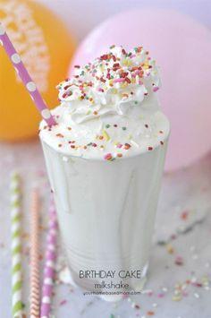 A Birthday Cake Milkshake Recipe - the perfect combination, ice cream and cake all in one @yourhomebasedmom.com