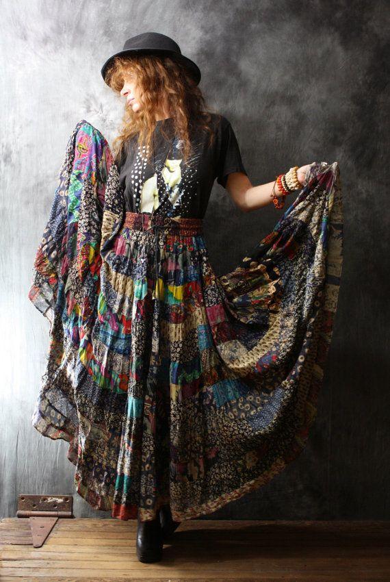 c34767f1aad Vintage Dress Skirt 1980s Gypsy Bohemian India Patchwork Skirt Big Sweep