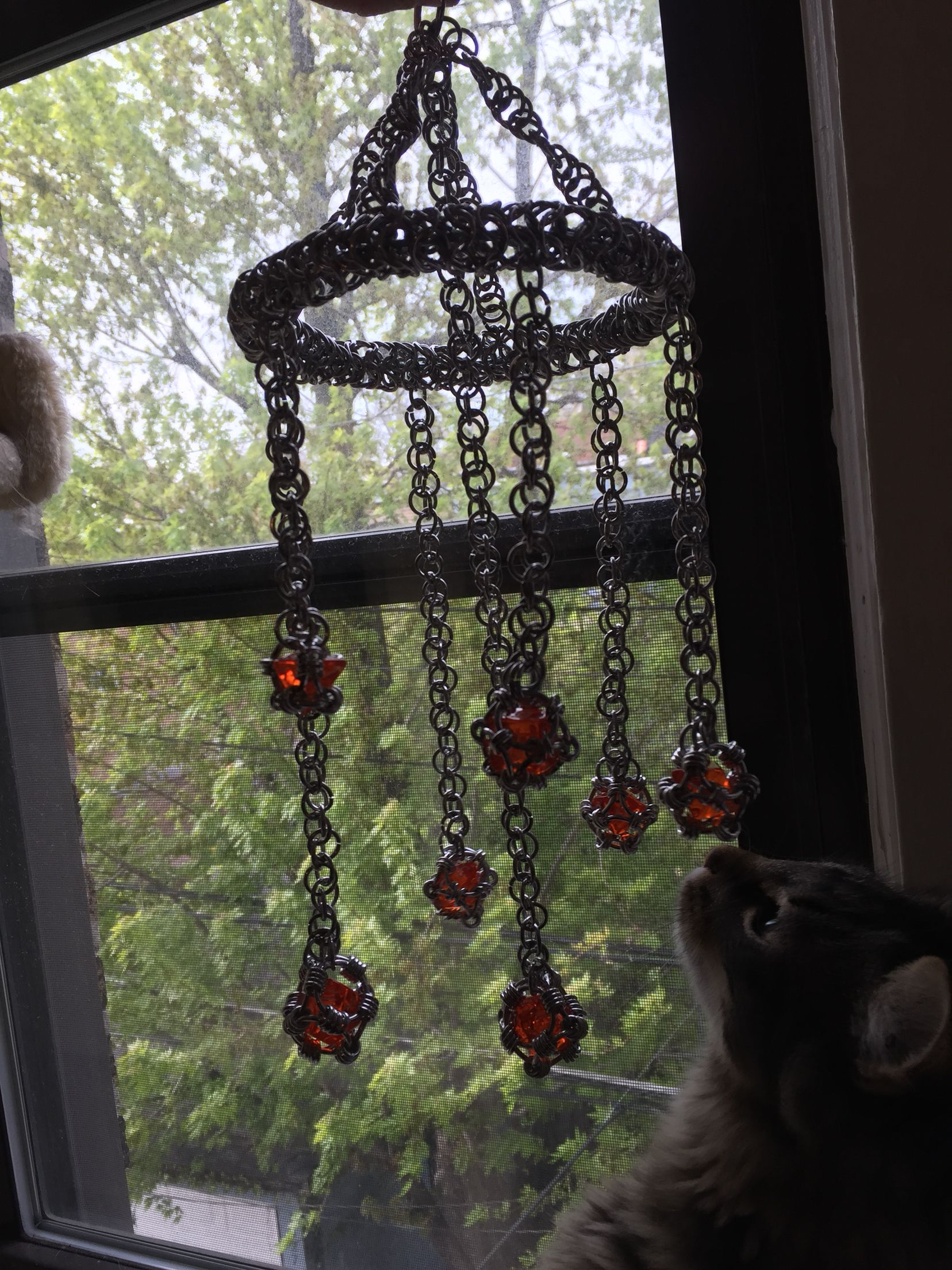 Chainmail Dice Suncatcher Windchime Style Completed Kitten Approved Wind Chimes Suncatchers Decor