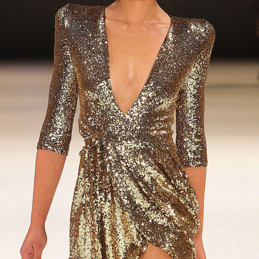 Awesome amazing sexy sequin sparkle dress gold black deep v neck