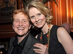 Actor Cynthia Nixon with wife and NYC education executive Christine Marinoni