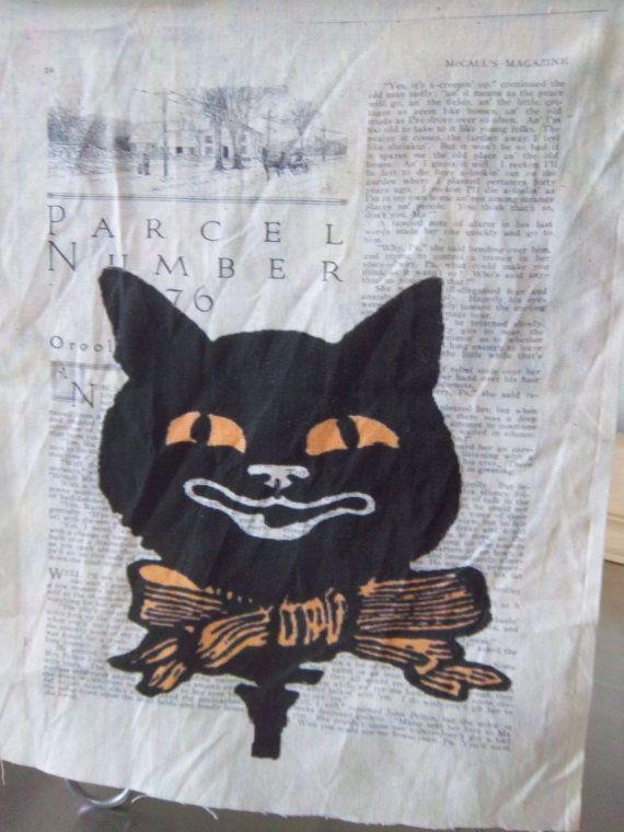 black cat fabric panel, quilt square, Halloween primitive, sew on ... : primitive quilt fabric - Adamdwight.com