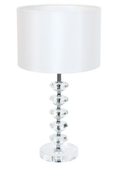 Suzie crystal table lamp featuring a sequence of disc crystals with white fabric shadelighting beacon lighting