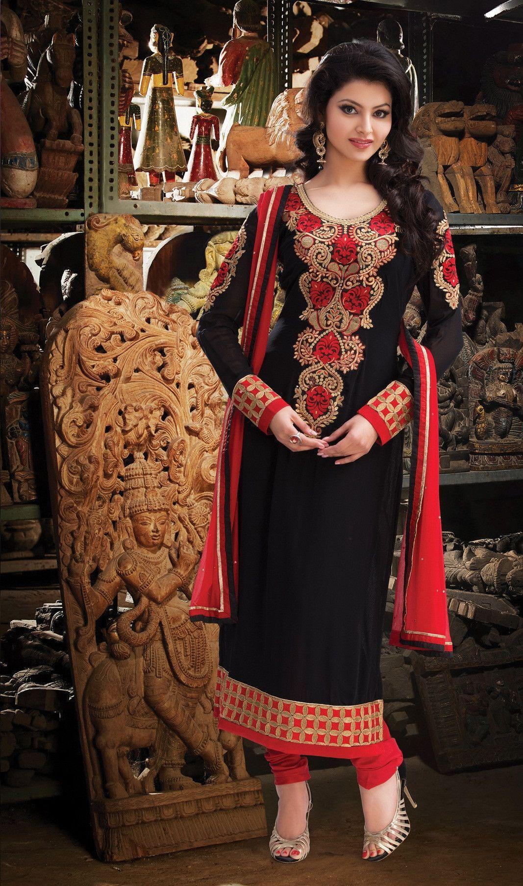 Black Georgette Embroidered Unstitched Salwar Suit