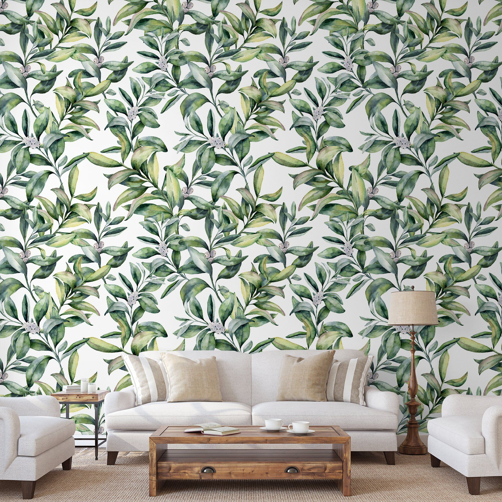 Berry Leaves Removable Wallpaper Winter Floral Self Adhesive Wall Mural Green Botanical Peel Stick Decal Watercolor Temporary Decor Removable Wallpaper Wallpaper Textured Walls