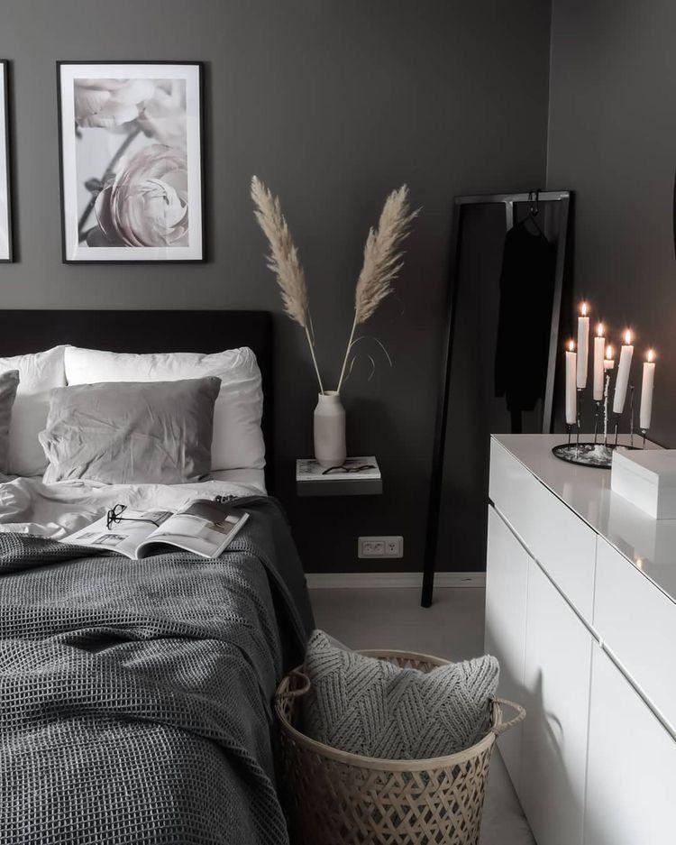 Scandinavian Interiordesign Colors: Classical Dark And Moody Minimalist Bedroom