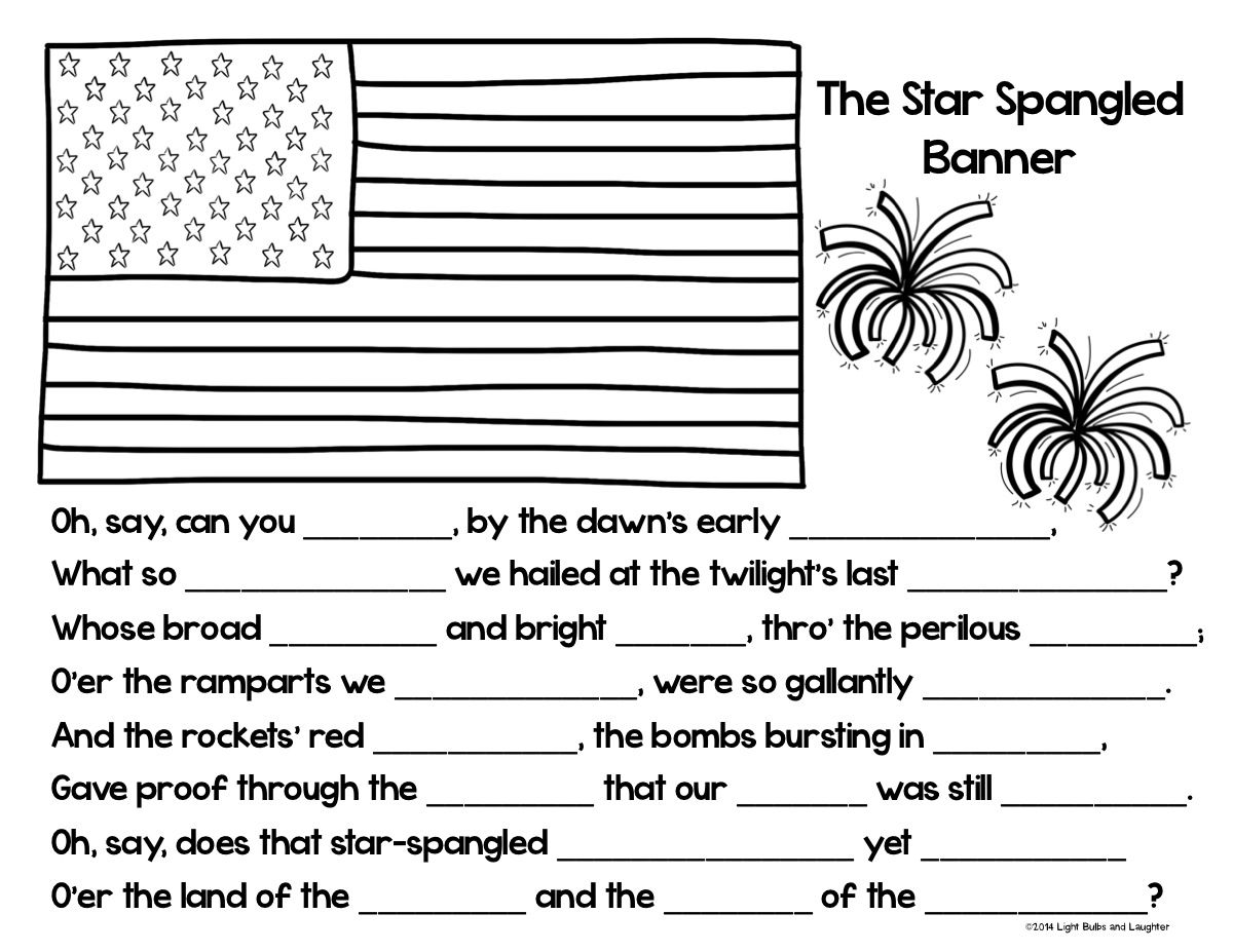 star spangled banner coloring page cloze activity from light bulbs