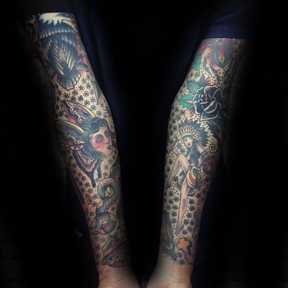 60 traditional tattoo sleeve designs for men old school ideas tattoo sleeve designs sleeve. Black Bedroom Furniture Sets. Home Design Ideas