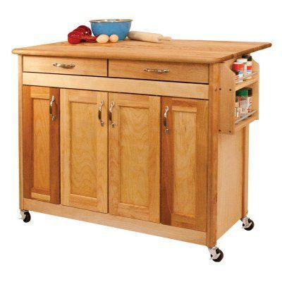 Catskill Craftsman Butcher Block Island With Panel Doors And Drop Simple Kitchen Cart With Drop Leaf Inspiration Design