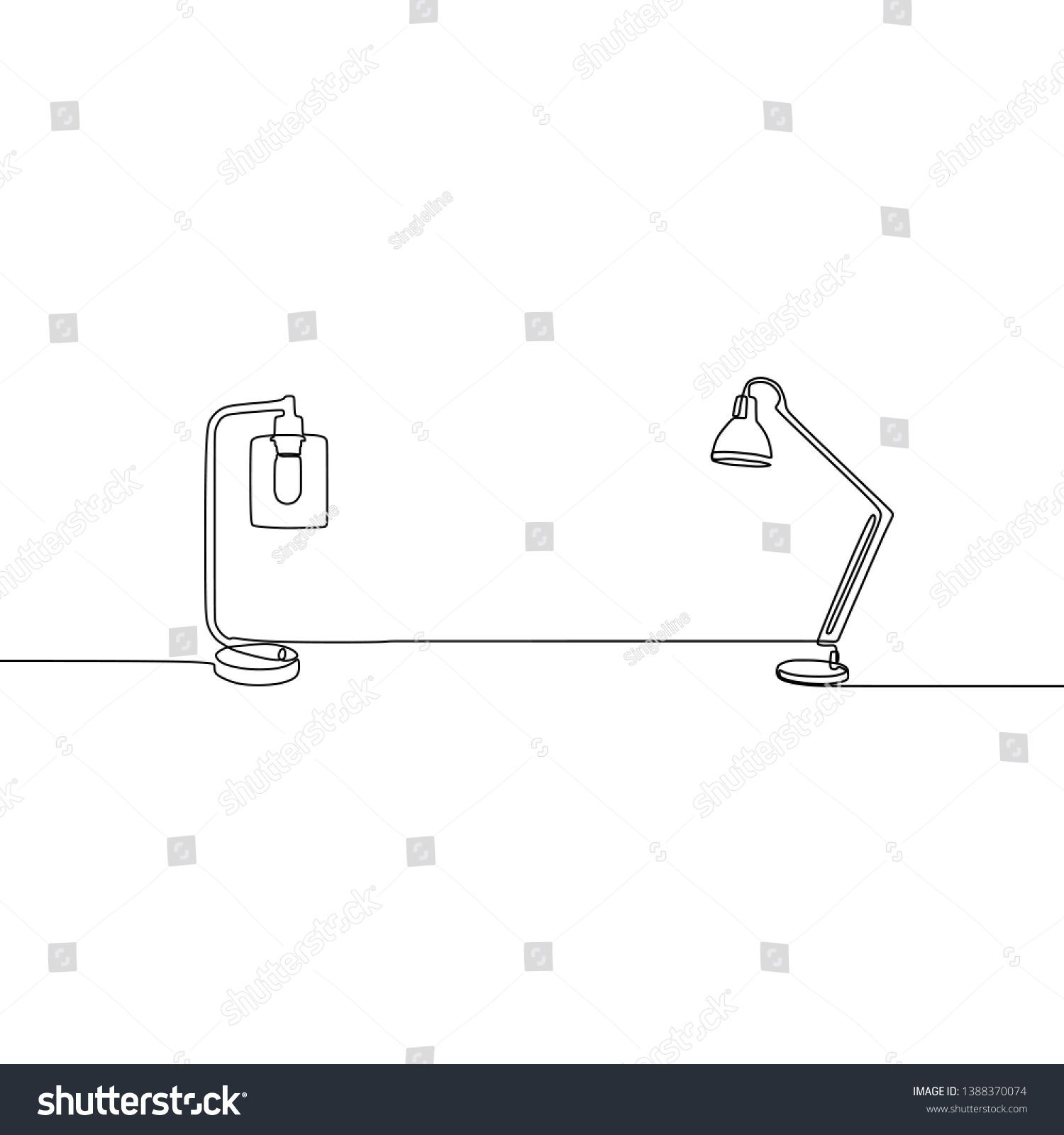 Desk Lamp And Table Lamp Continuous Line Lamp Vector Outline Set Of Lamp Icons For Web Design Isolated On White Backgrou In 2020 Continuous Line Web Design Continuity