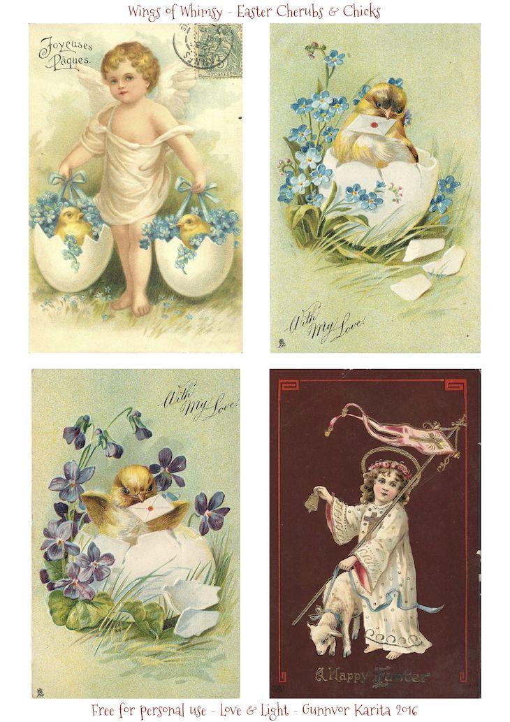 Wings of Whimsy: Easter Cherubs & Chicks #vintage #ephemera #freebie #printable #easter #cherubs #chicks