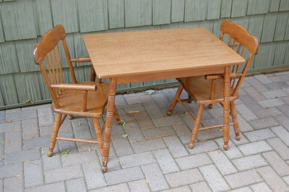 Reserved for Jannah Vintage Oak Hill Wood Spindle Base Children's Table & Chairs  Set - Reserved - Antique Childs Table And Chairs Antique Furniture