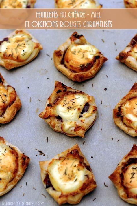Feuilletés au chèvre-miel et compotée d'oignon rouge - Amandine Cooking