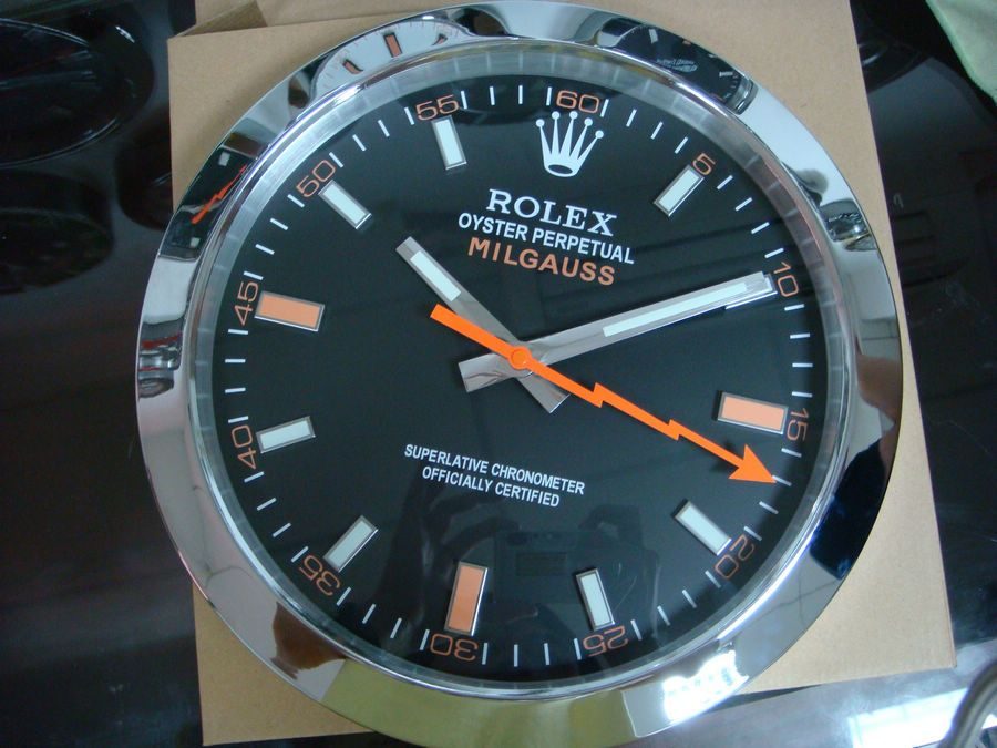 Rolex Milgauss Wall Clock With Black Dial Red Marker Free
