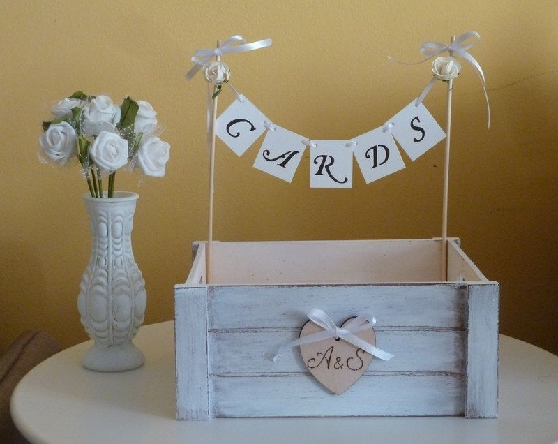 wedding card box holder with cards banner and wooden heart shabby chic rustic beach wedding decor