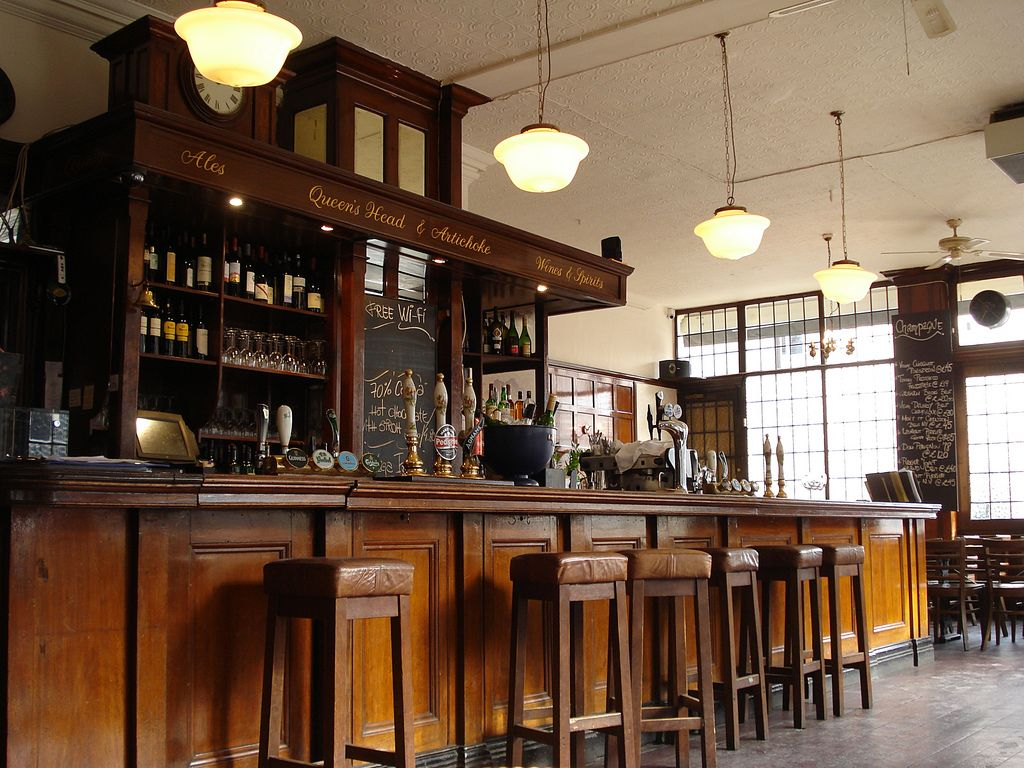 Inside the Queen's Head and Artichoke, Albany Street, London NW1