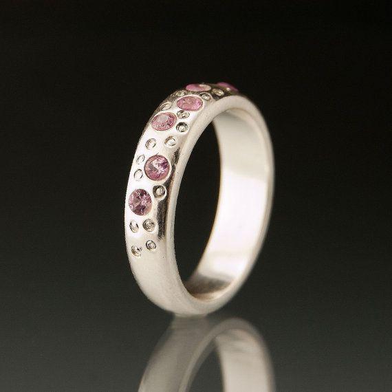 Pink Sapphire Fairy Dust Wedding ring