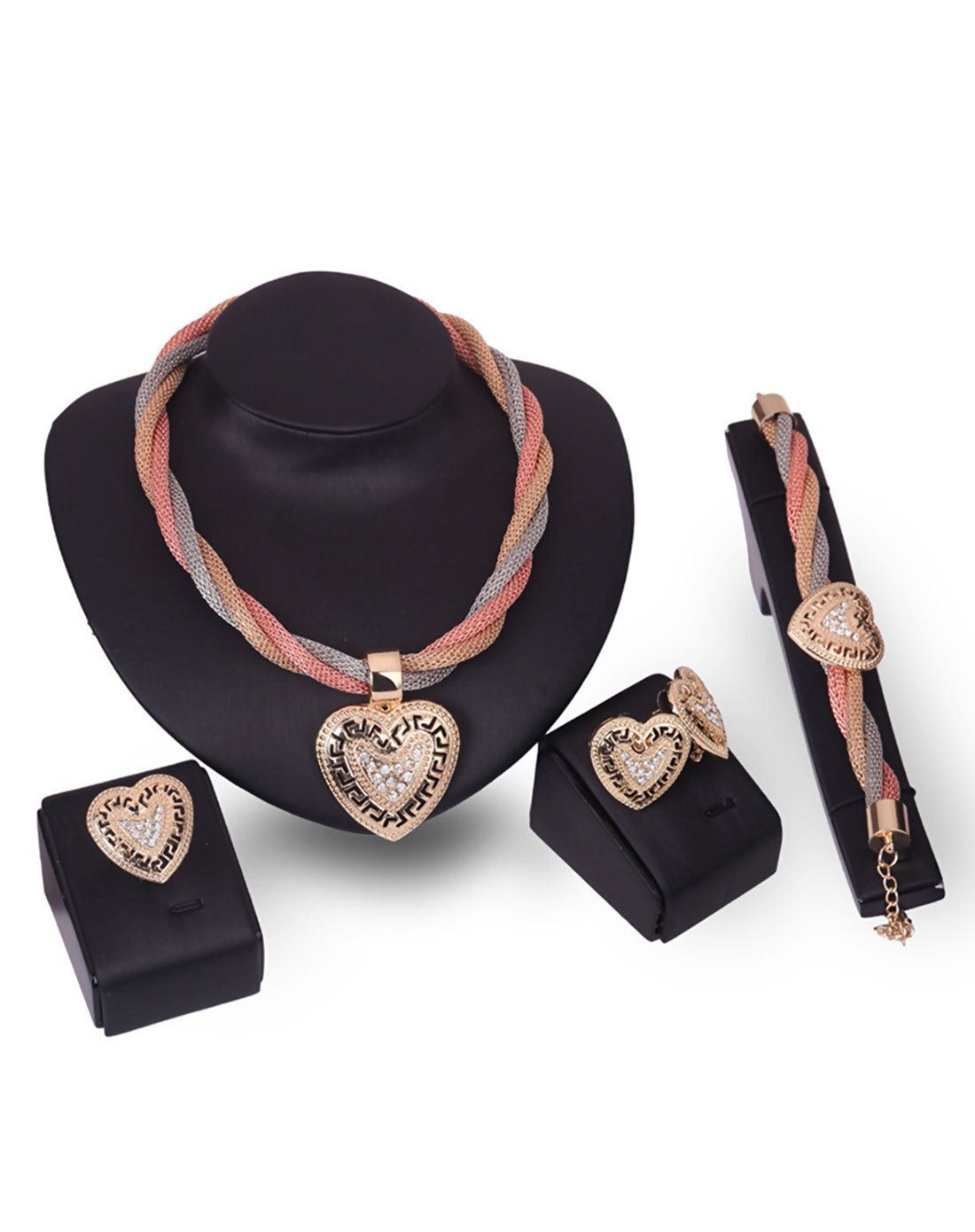 Adorewe vipme jewelry sets rich long k gold plated heart pcs