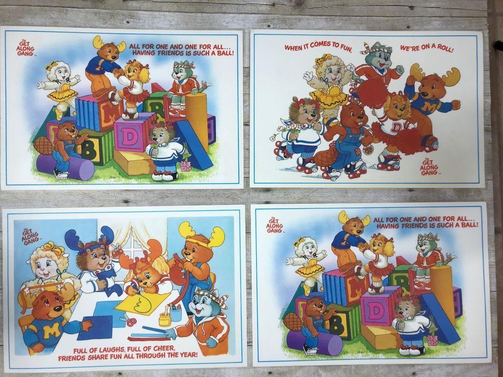 Vtg get along gang place mat lot laminated preschooler 1984 american american greetings m4hsunfo