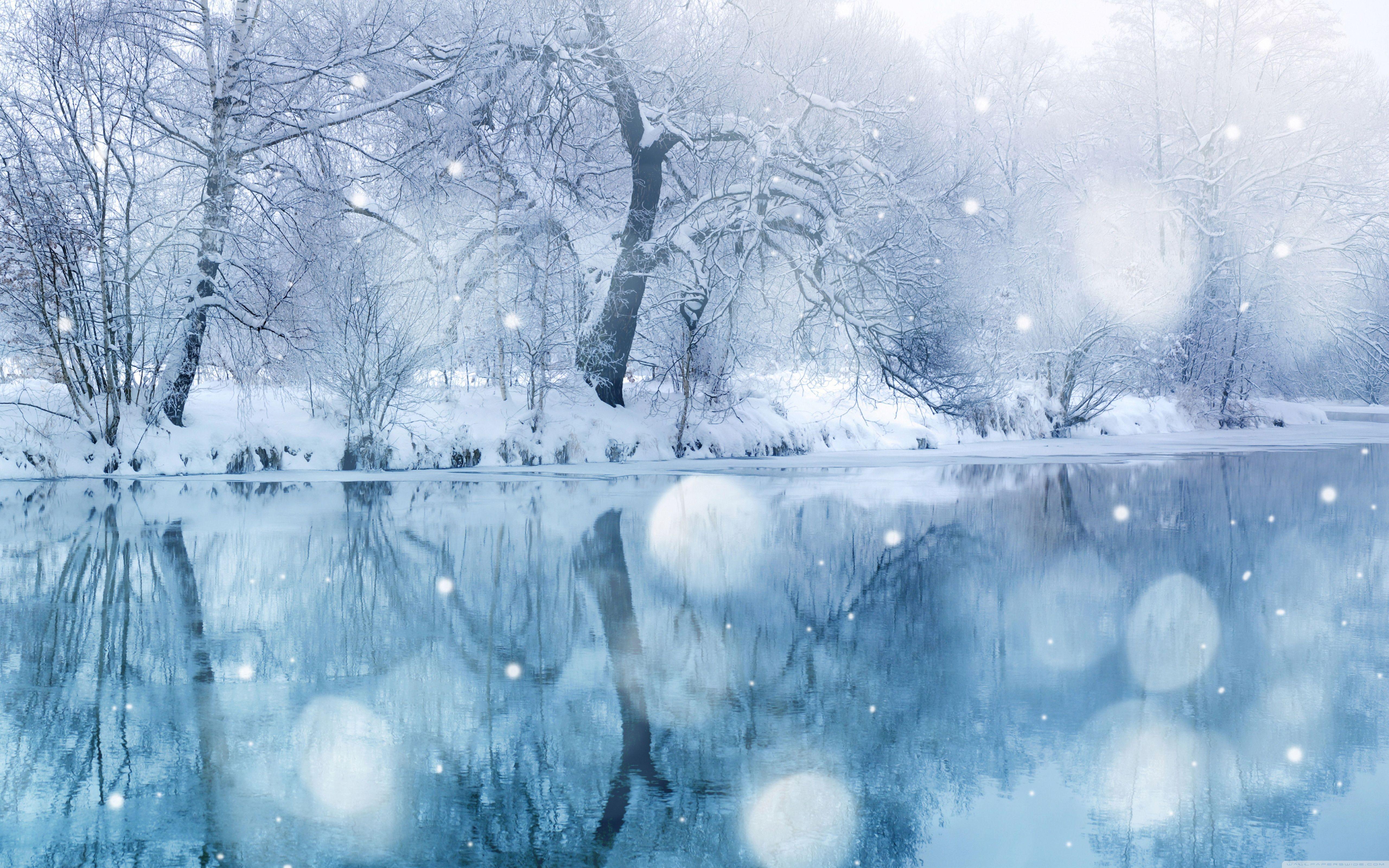 Winter Snowfall Hd Desktop Wallpaper High Definition Mobile Goller Manzara Nehir