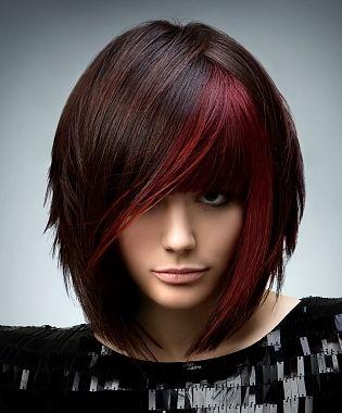 A Streak Of Red Hair Color Hair Hair Styles Short