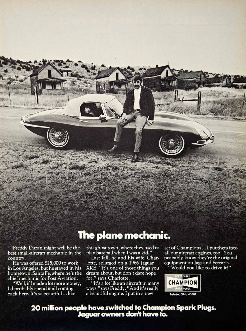 1971 Ad Champion Spark Plugs Auto Parts Freddy Duran 1966 Jaguar XKE Sports  YCD8