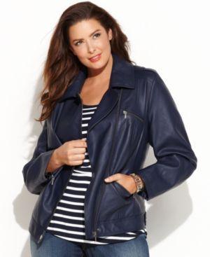Im digging this navy blue motorcycle jacket !