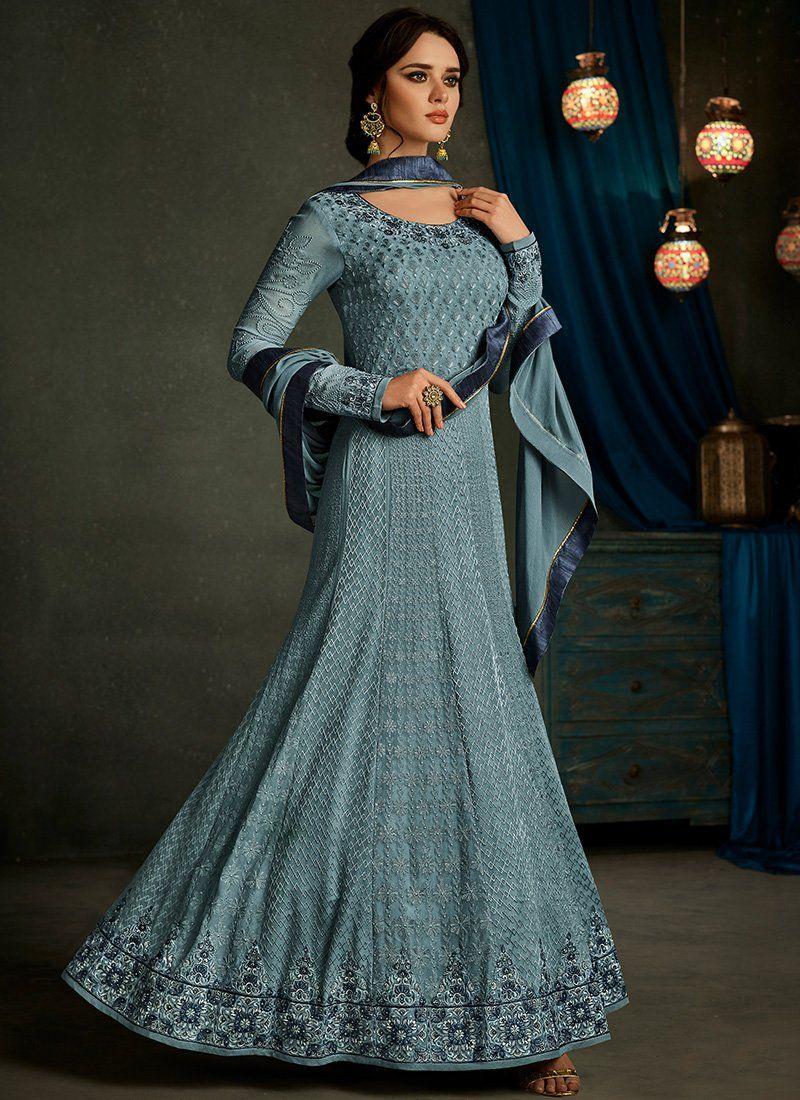 5e23cae496 Mustard Embroidered Anarkali Gown – Lashkaraa | Indiase jurken ...