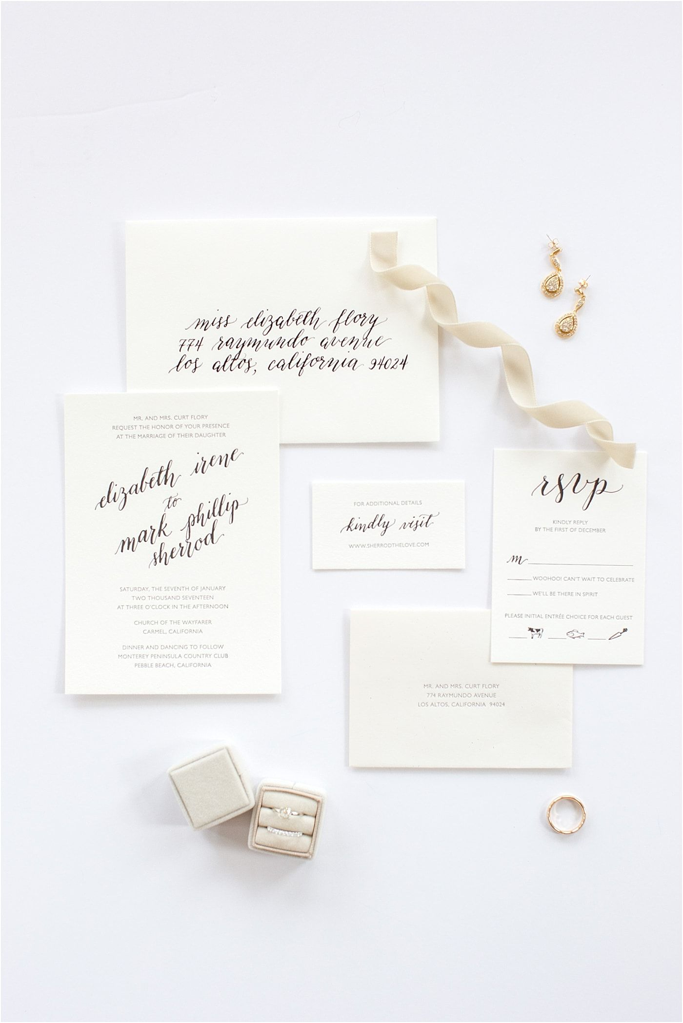 Shine custom wedding invitation suite | Mrs Box | Styled Board | How to style an invitation suite |  Monterey Peninsula Country Club Wedding