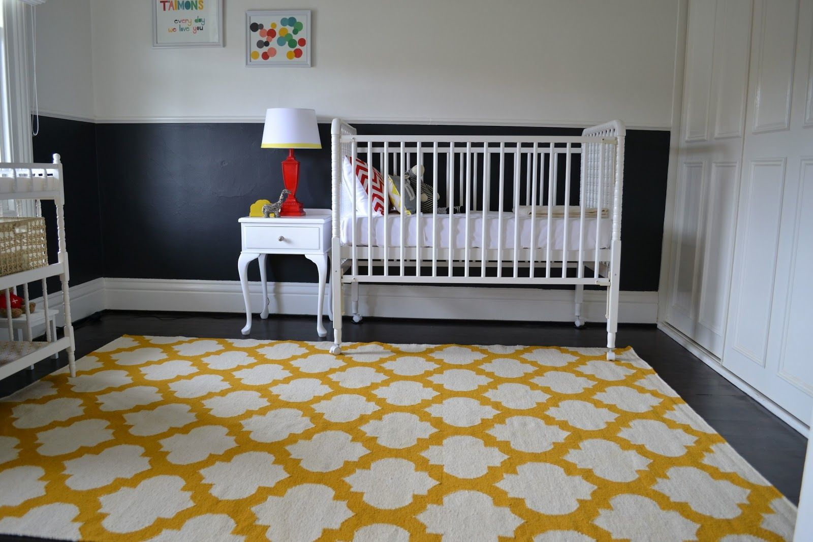 awesome baby nursery design with decorative yellow graphic carpet - Baby Boy Room Rugs