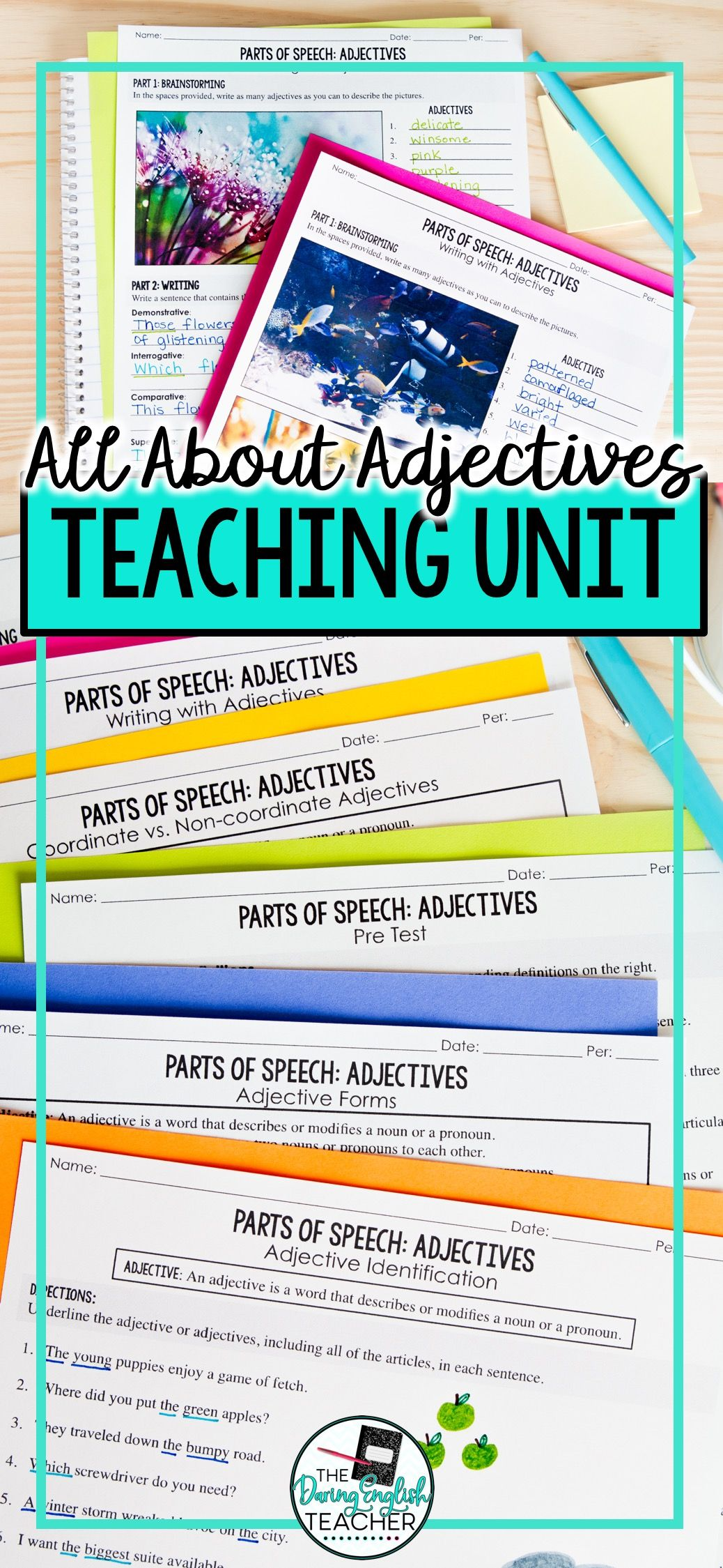 Adjectives Parts Of Speech Unit Powerpoint Lessons