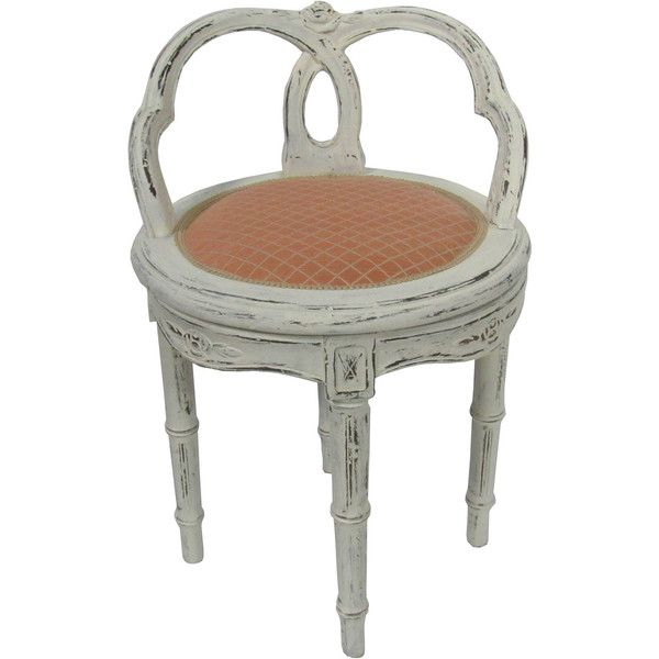 Antique French Carved Swivel Vanity Stool Chair Shabby Distressed 289 Liked On Polyvore Featuring Home Furniture Chairs White Vanity Chair Vanity Stool Painted Chairs