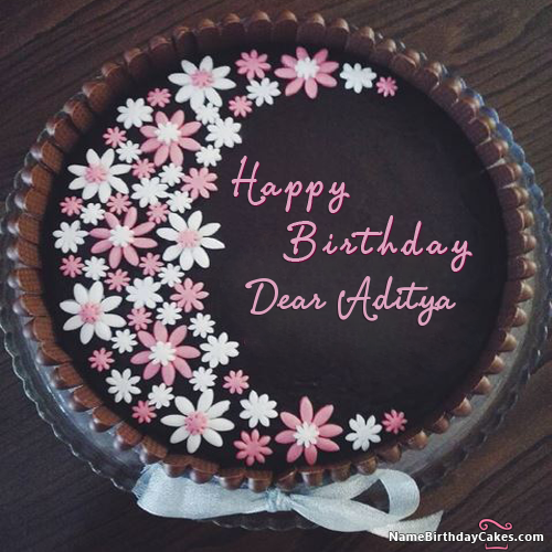 I Have Written Dear Aditya Name On Cakes And Wishes On This Birthday