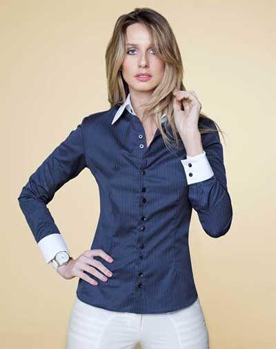 camisa social feminina azul escura com branco  4f7099d37f5