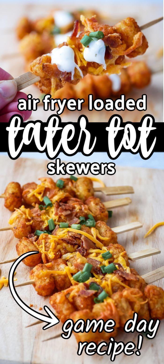 Air Fryer Loaded Tater Tot Skewers