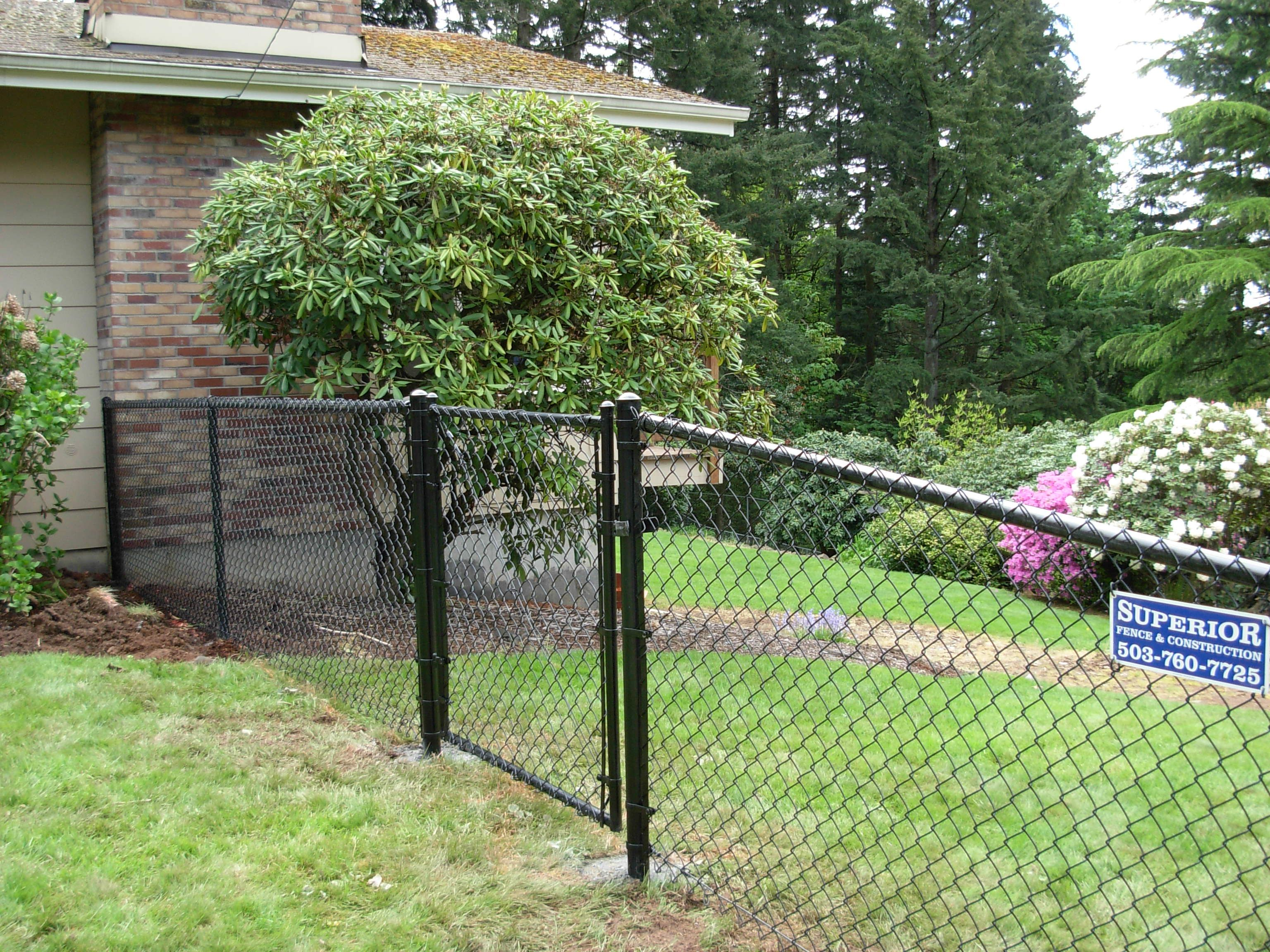 Black chain link fence with gate 503 760 7725