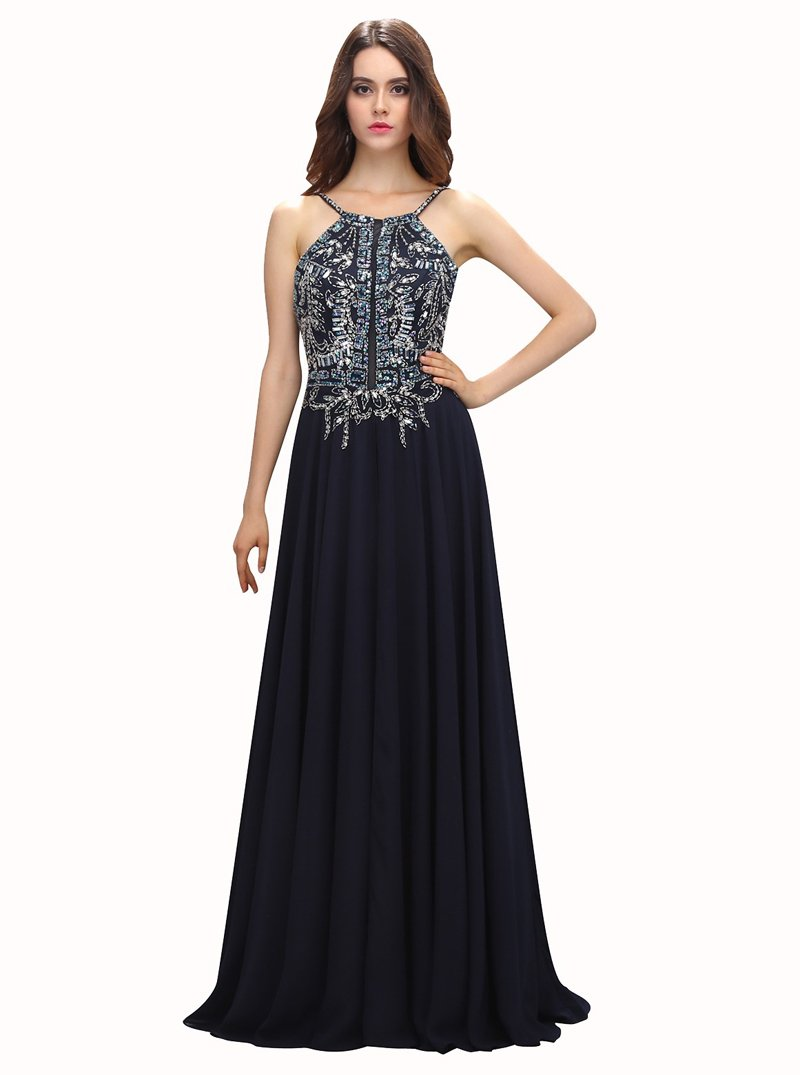 Dark navy prom dressesspaghetti straps prom dressbeaded prom dress