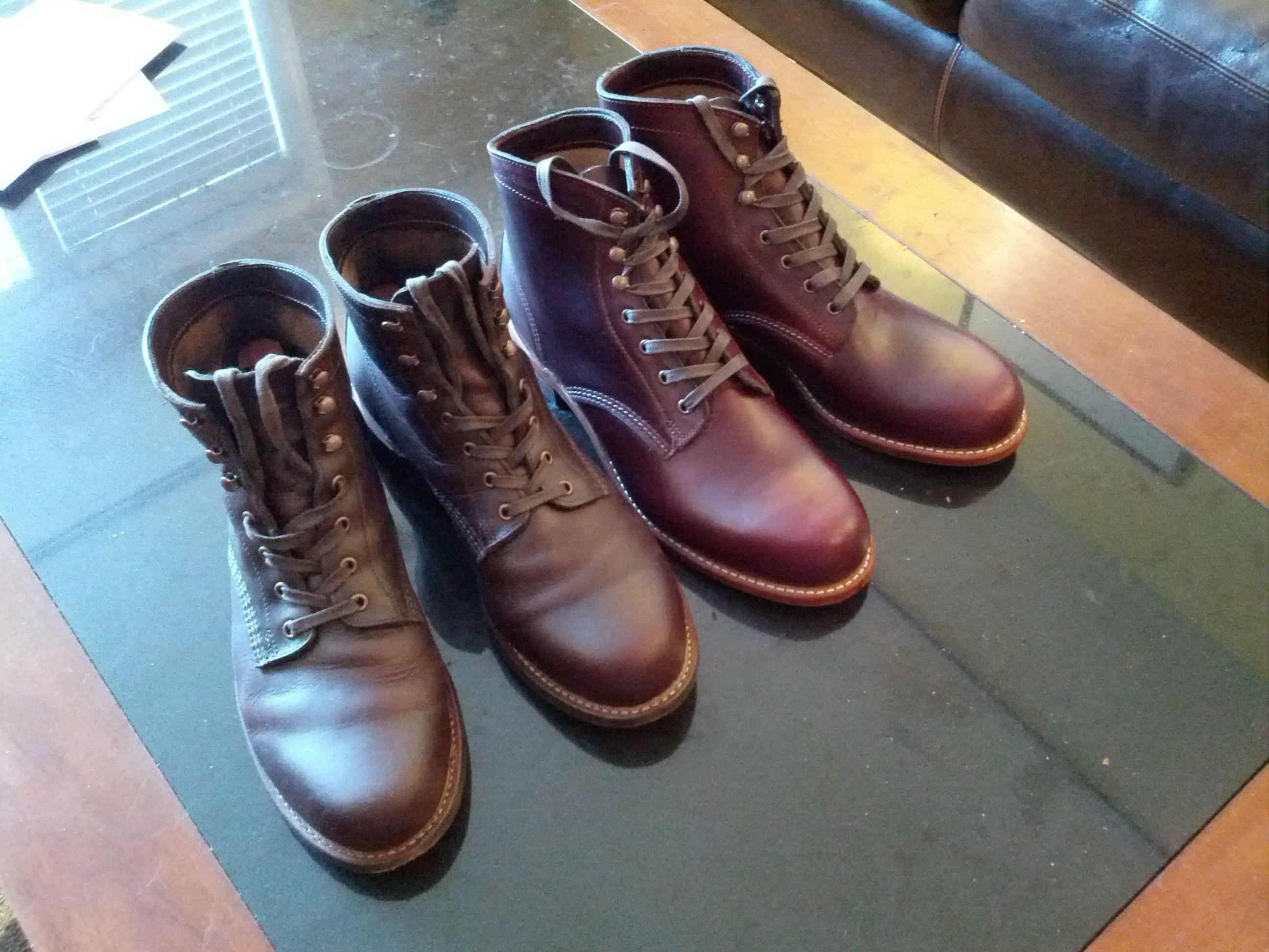 079957ddb1d Wolverine '1K' boot Brown vs. Cordovan No. 8. Color is darker in ...