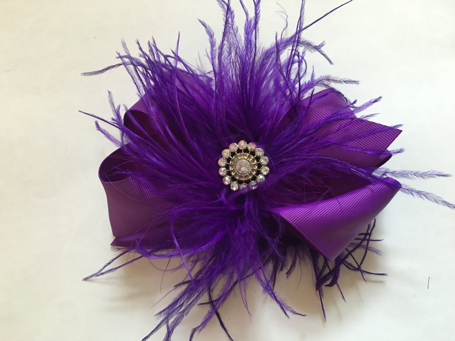 purple feather hair bow, dance costume hair piece, feather