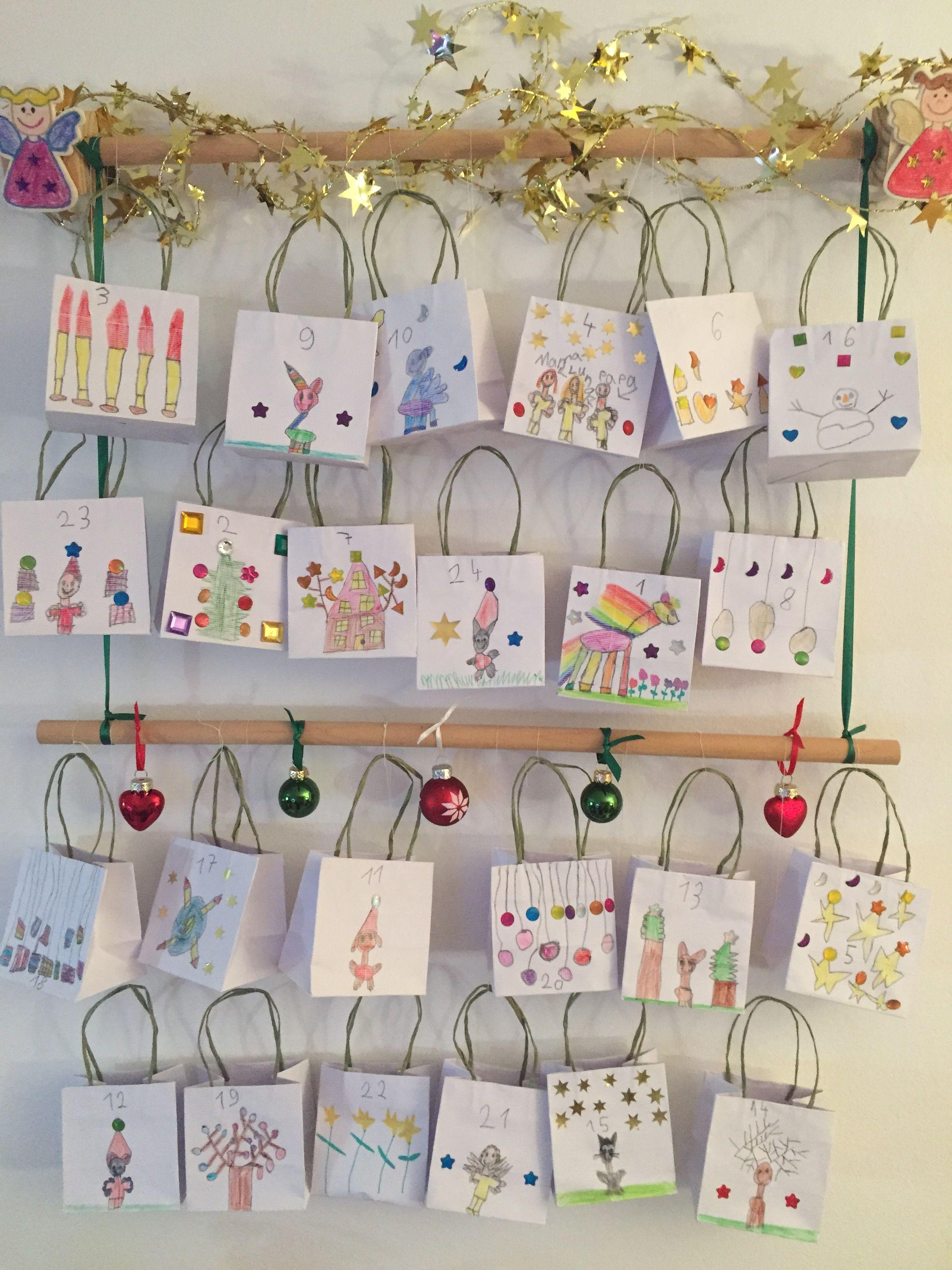 Adventskalender DIY Kinder 24 bemalte Tüten Kerst