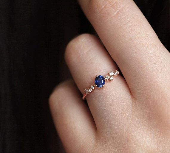 Oval Blue Sapphire Ring Blue Sapphire Diamond Ring Unique Diamond Sapphire cluster Ring Blue Sapphire Engagement Ring by Minimalvs  THIS In white gold PERFECT Diamond Rin...