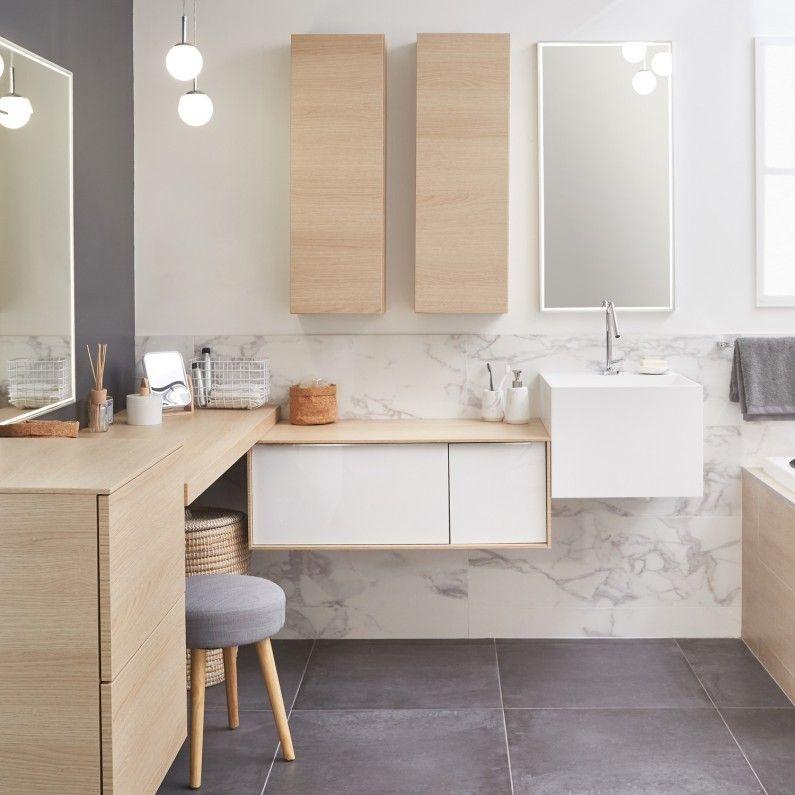 Donner un style contemporain à votre salle de bain avec un carrelage - salle de bain carrelage gris et blanc